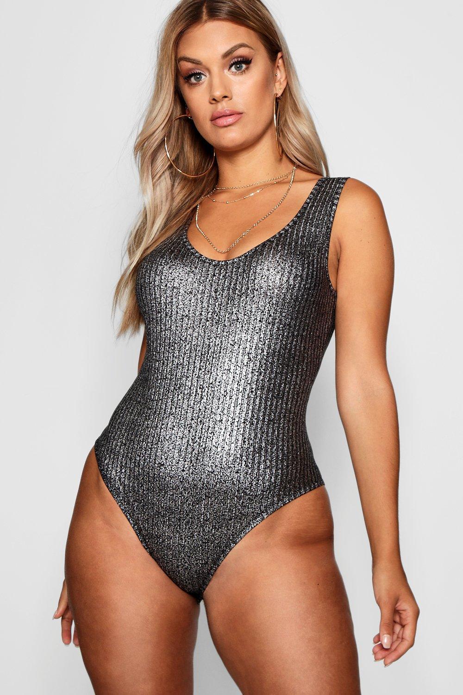 7c30e7d847add Boohoo Plus Metallic Rib Bodysuit in Black - Lyst