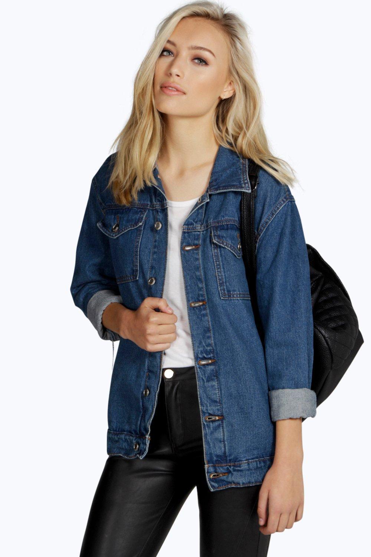 f71fcc05080 Boohoo Oversize Denim Boyfriend Jacket in Blue - Lyst