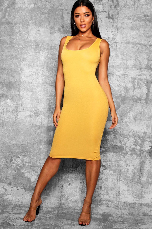 adf41593d49 Lyst - Boohoo Longline Square Neck Midi Dress in Yellow