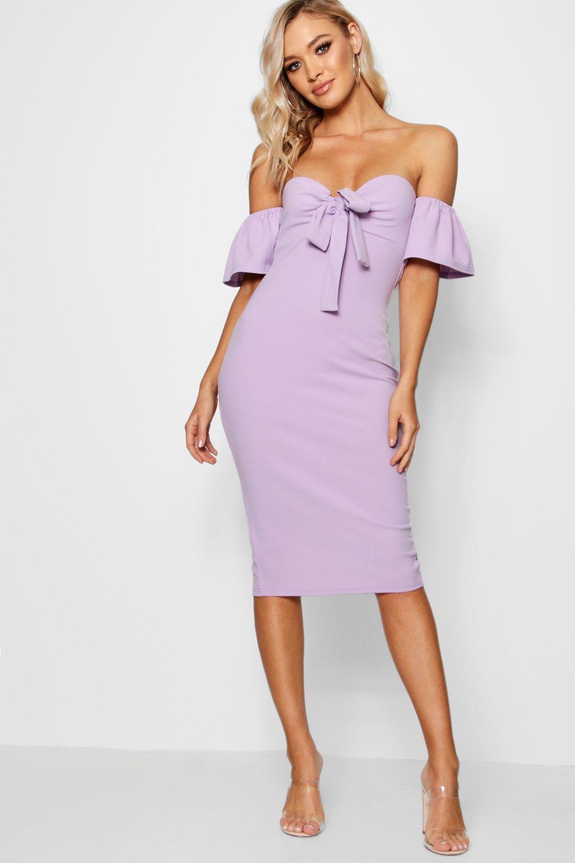 232ea02c4424 Lyst - Boohoo Tie Front Off The Shoulder Midi Dress in Purple