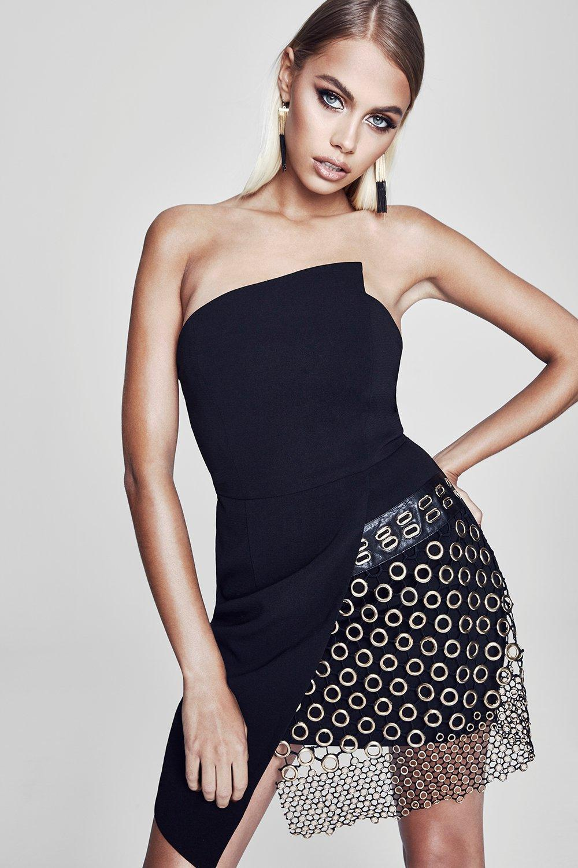 e2896058e341 Boohoo Premium Felicity Wrap Bardot Mini Dress in Black - Lyst