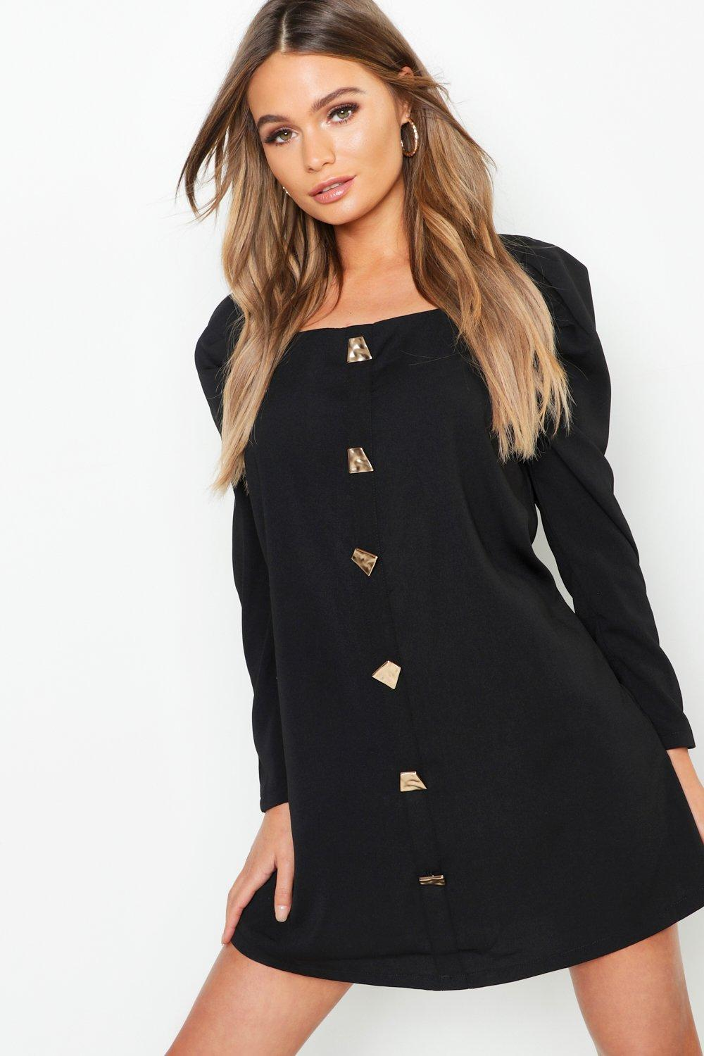 a4297def00f Boohoo. Women s Black Square Neck Volume Sleeve Button Front Shift Dress