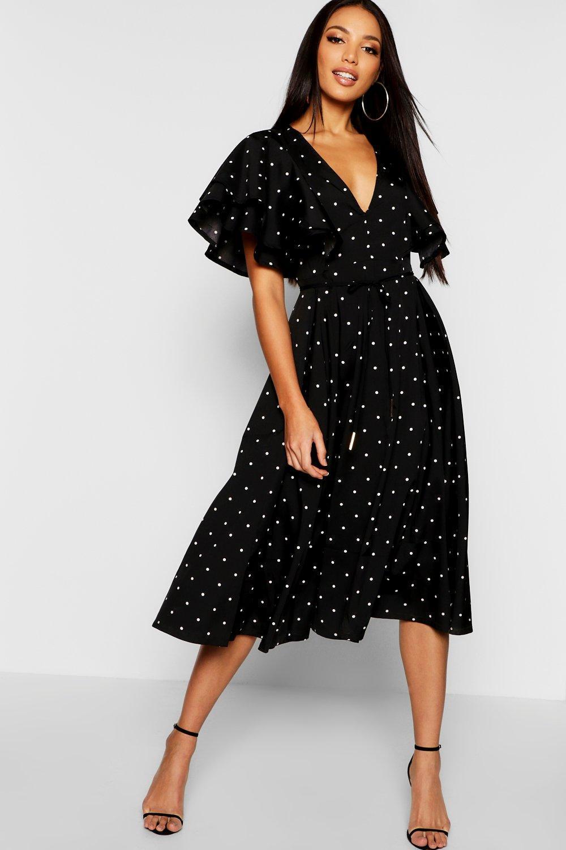 4c54d91e4522 Lyst - Boohoo Mini Polka Dot Ruffle Angel Sleeve Midi Dress in Black