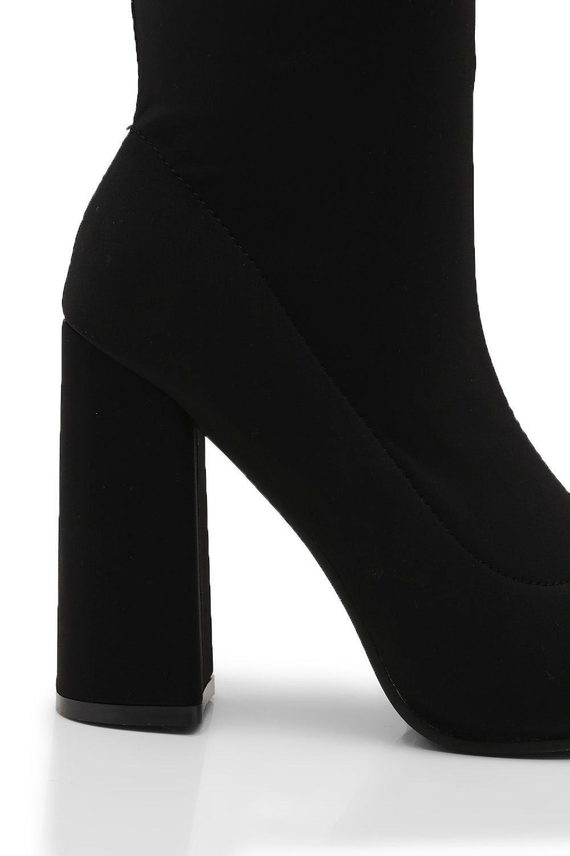 8f821b3fca06 Lyst - Boohoo Flared Heel Over The Knee Boots in Black