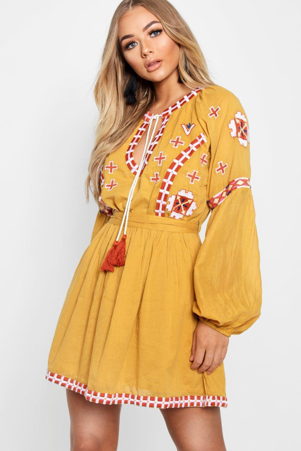 58123cb725bb Lyst - Boohoo Embroidered Tie Smock Dress in Yellow