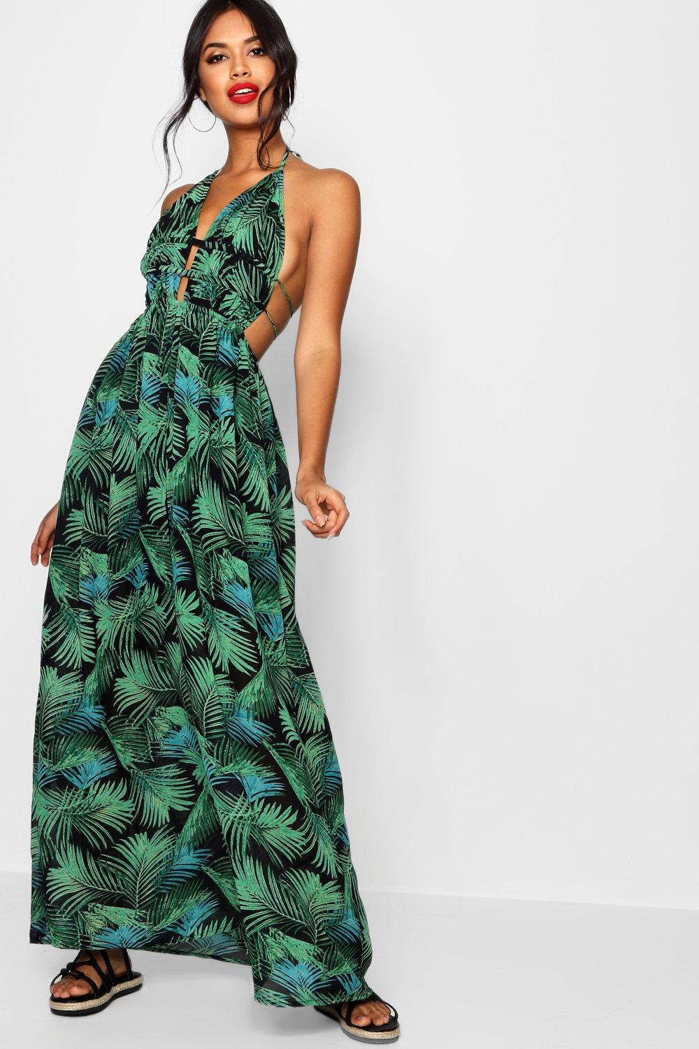 53a8bfd5169f Boohoo Tall Plunge Front Palm Print Maxi Dress in Green - Lyst