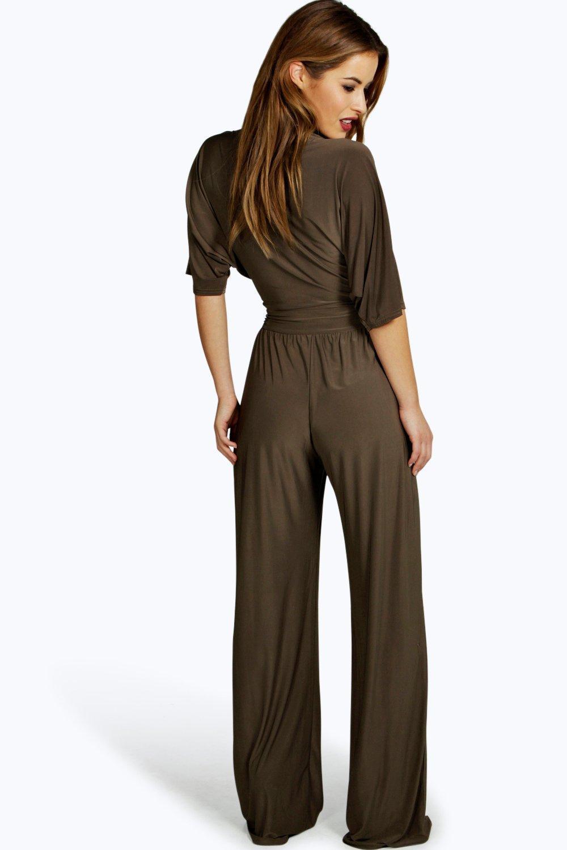 fe880453e45 Boohoo - Black Petite Wrap Front Wide Leg Jumpsuit - Lyst. View fullscreen