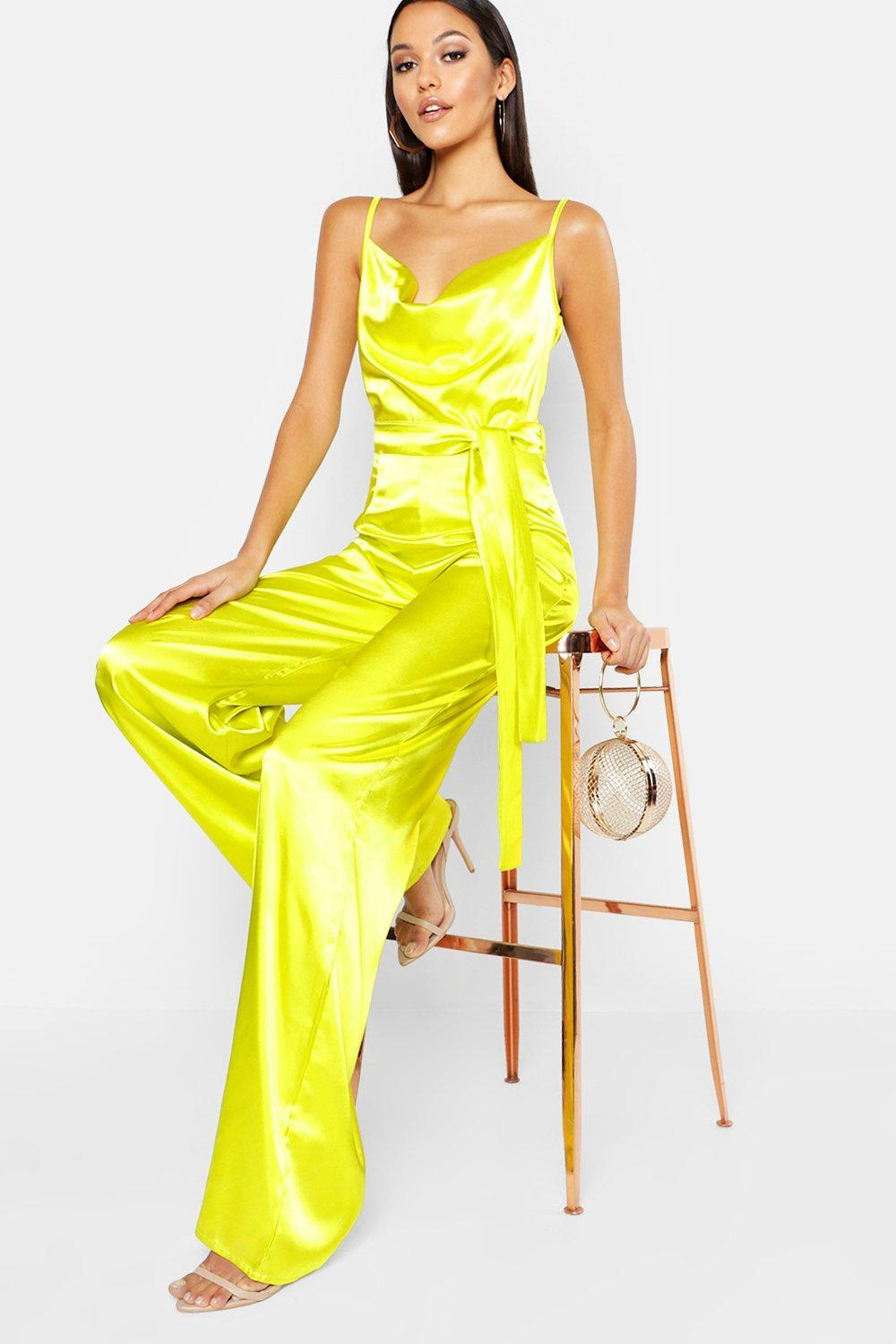 9936b3714ac Lyst - Boohoo Tall Satin Wide Leg Cowl Neck Jumpsuit in Yellow