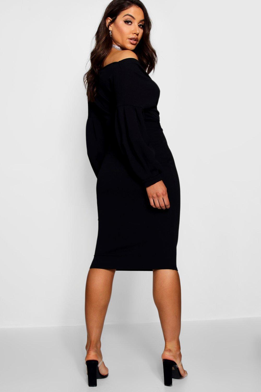 30b0c56a5084 Boohoo - Black Off The Shoulder Wrap Midi Dress - Lyst. View fullscreen