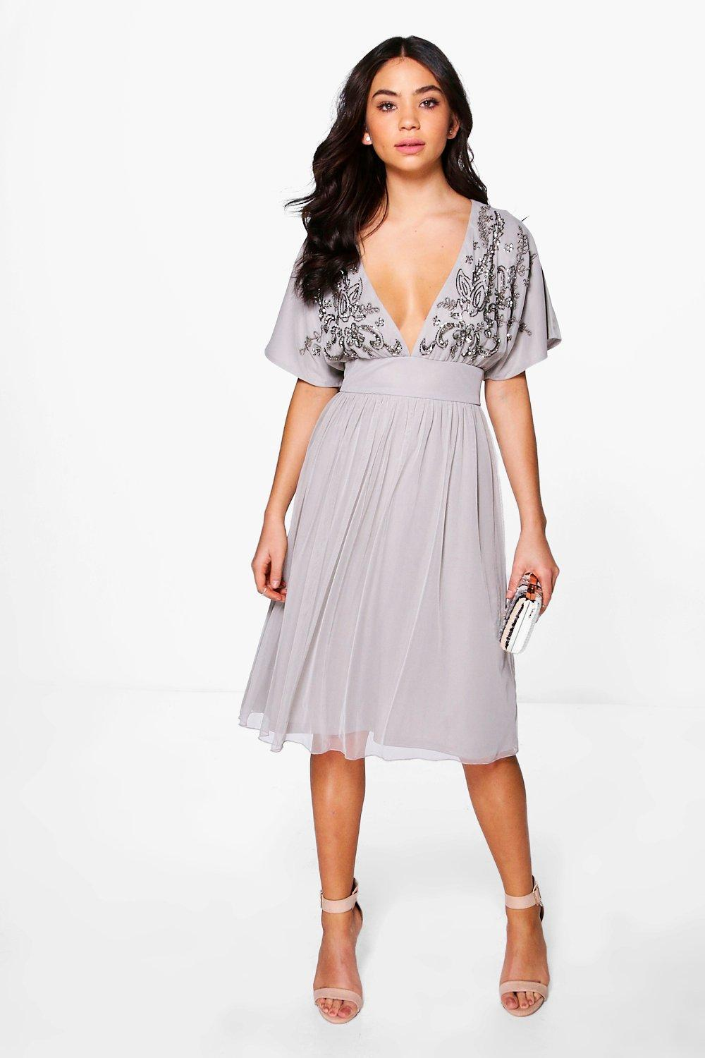 6a5380868a4b Lyst - Boohoo Boutique Megan Embellished Skater Dress in Gray