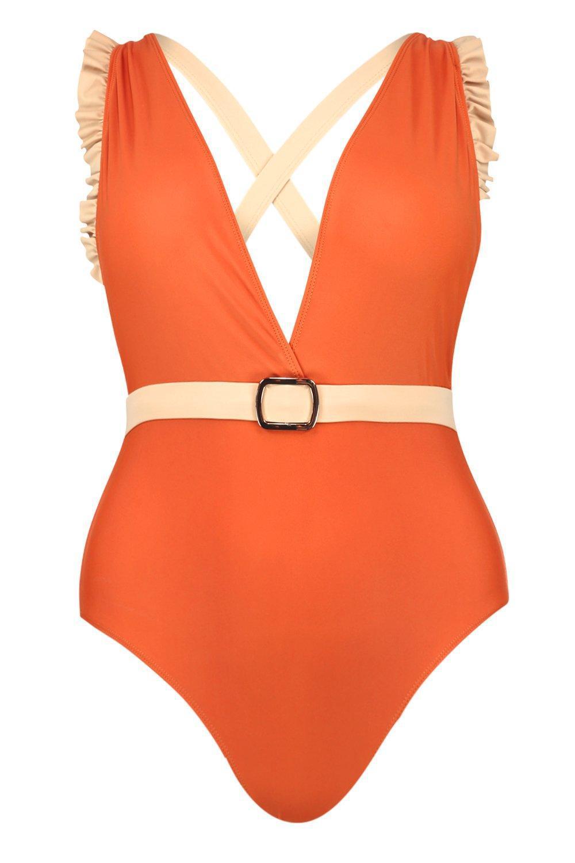 864ce1e0e5 Boohoo - Orange Plus Frill Detail Belted Plunge Swimsuit - Lyst. View  fullscreen
