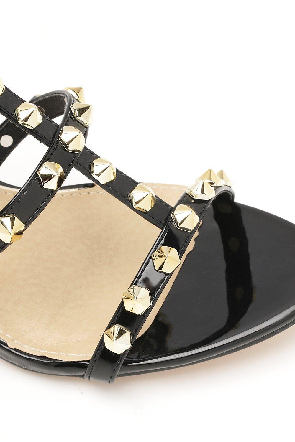 273c81a831a Lyst - Boohoo Studded Cage Kitten Heels in Black