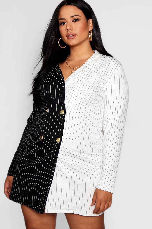 d7c9f9e00a7 Boohoo Plus Bea Contrast Stripe Button Up Blazer Dress in Black - Lyst