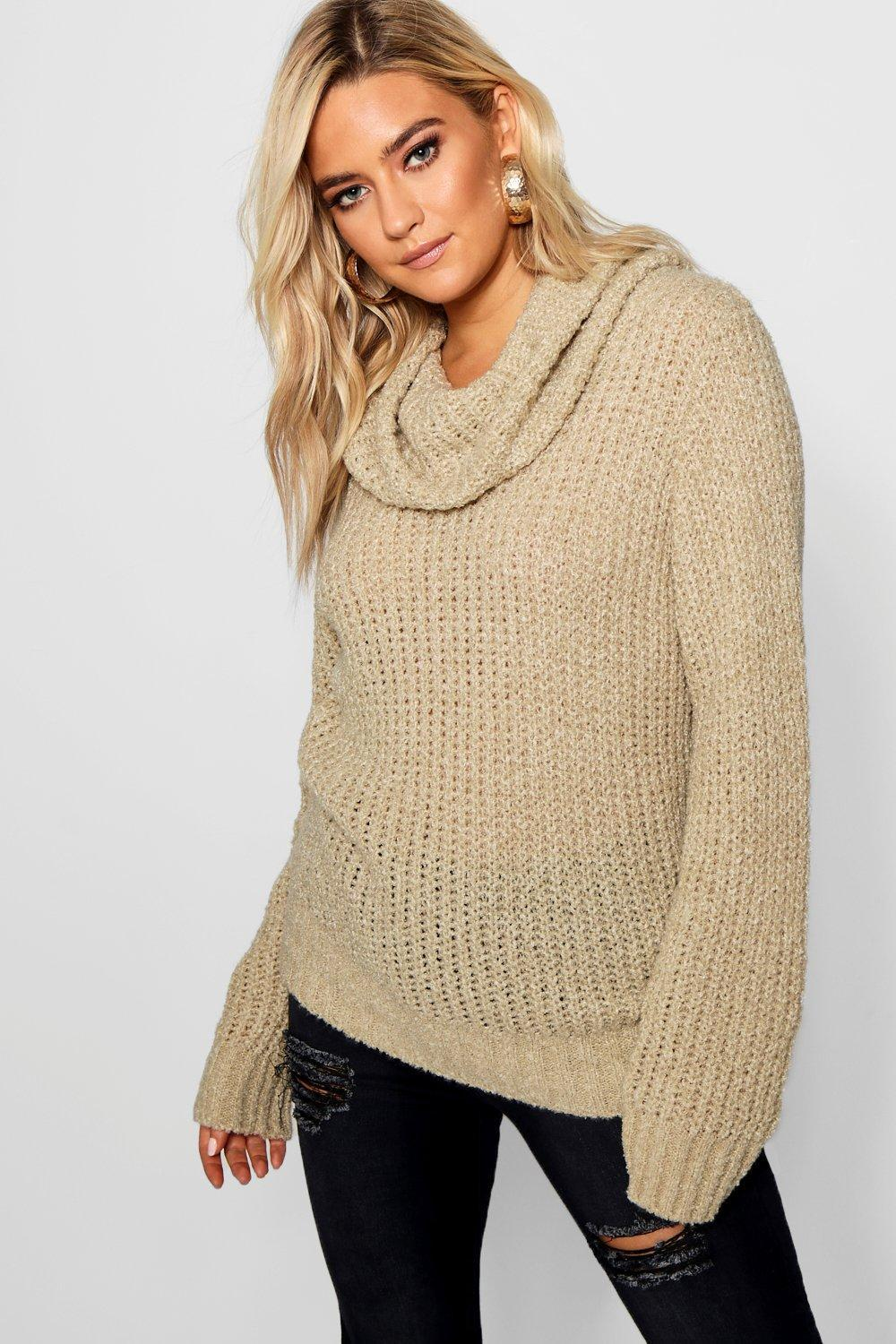2f4227a45e0c Boohoo Boucle Crop Cowl Neck Jumper in Natural - Lyst