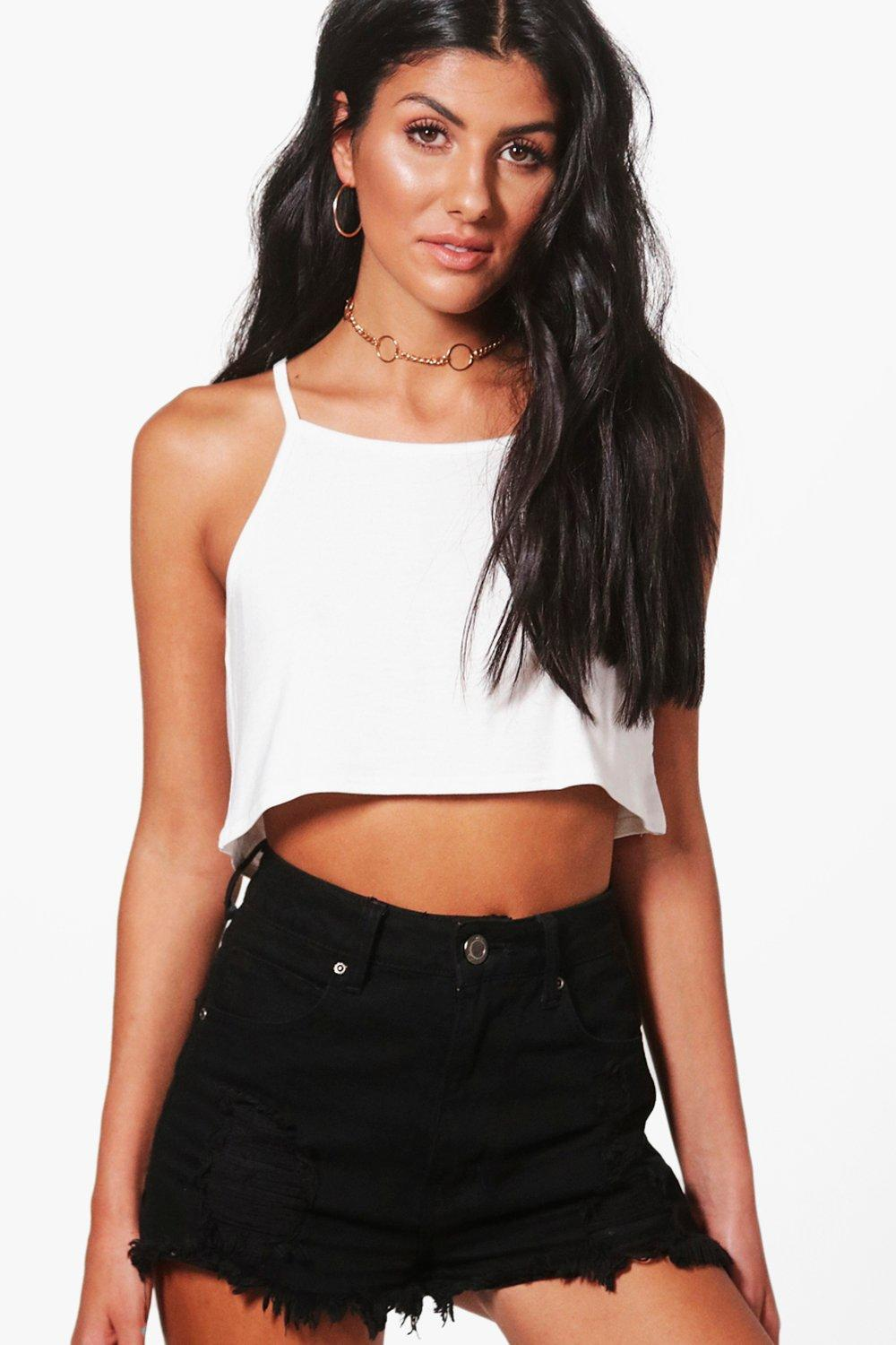 219f0dfd654303 Boohoo Basic Swing Crop Cami in White - Lyst