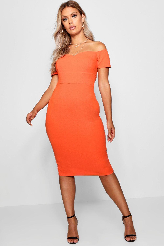 ca01ef8adec74 Lyst - Boohoo Plus Bardot Ruched Bodycon Dress in Orange