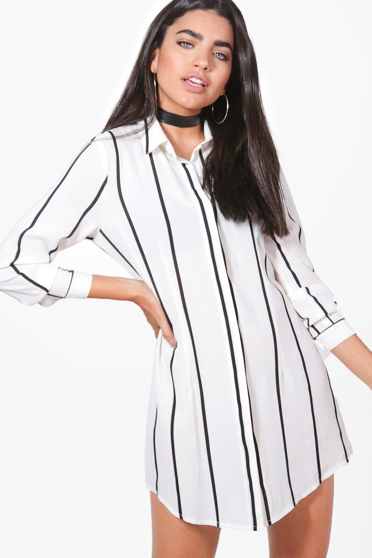 9af4209e318e Lyst - Boohoo Chiara Wide Stripe Shirt Dress in White