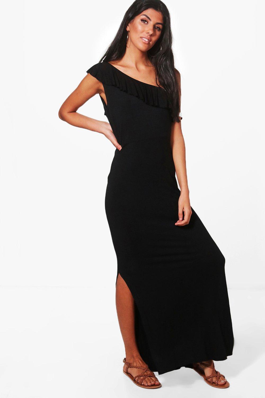 Boohoo Molly One Shoulder Frill Maxi Dress in Black - Lyst 06871f6c3
