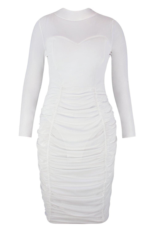 6ff3d74c916ae Lyst - Boohoo Plus Mesh Ruched Detail Midi Dress in White
