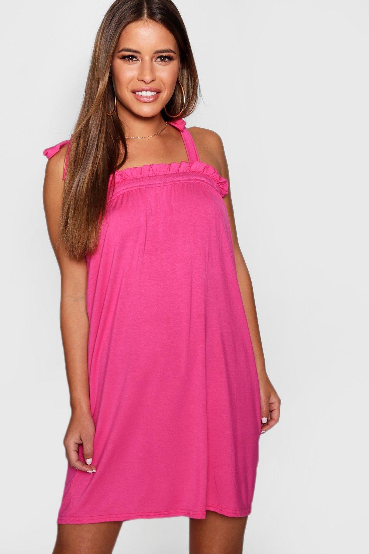 Boohoo Petite Tie Shoulder Smock Dress Get To Buy cvqEt2