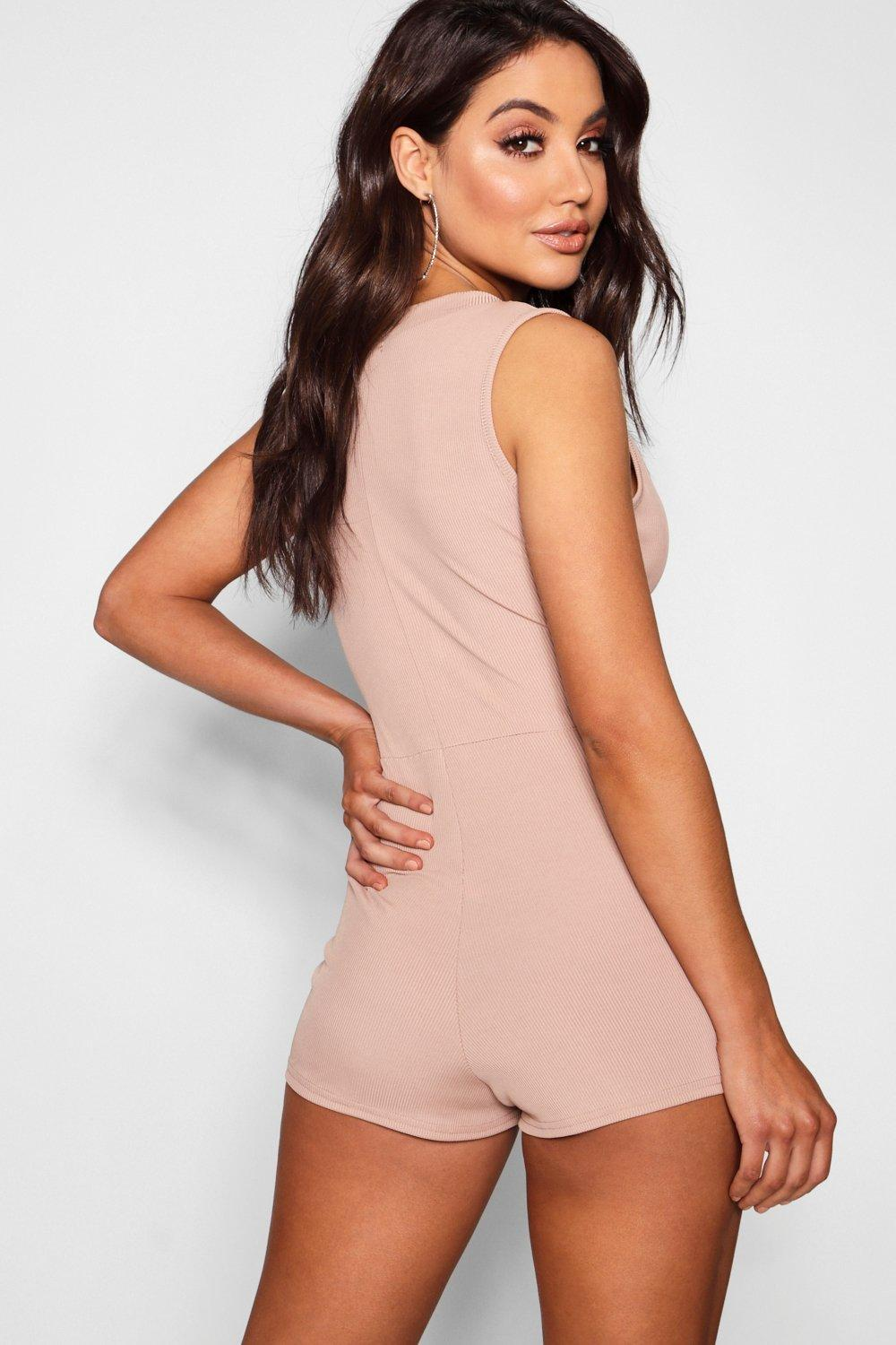 959a125c74 ... Ribbed Button Front Sleevless Playsuit - Lyst. View fullscreen