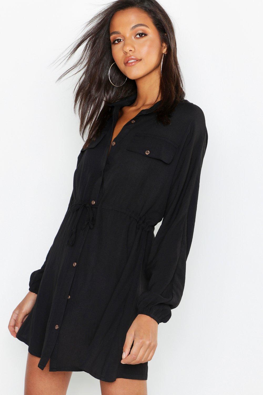 4b4ef8a0d3 Boohoo Linen Look Horn Button Utility Shirt Dress in Black - Lyst