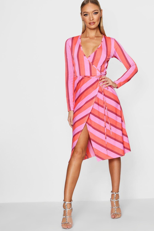 f664868bda4 Boohoo Long Sleeve Wrap Striped Midi Dress in Pink - Lyst