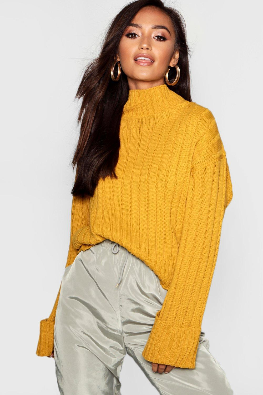 78beb99a4b0a4 Lyst - Boohoo Petite Rib Knit High Neck Jumper in Yellow