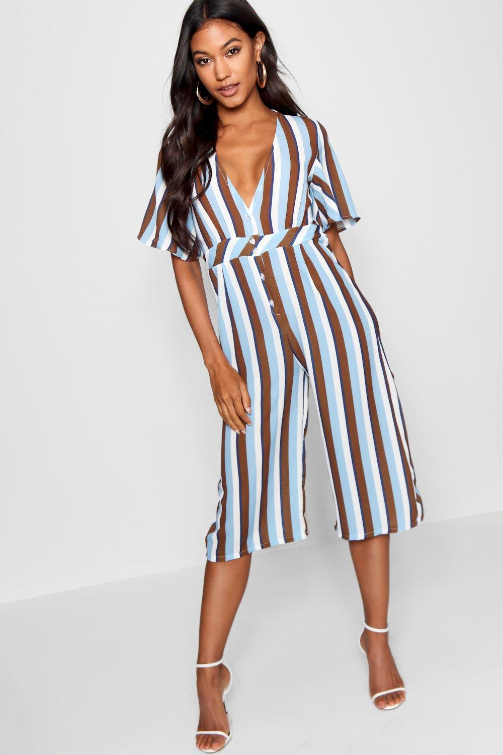 ef1cd5ed3e2 Boohoo Button Through Striped Jumpsuit in Blue - Lyst