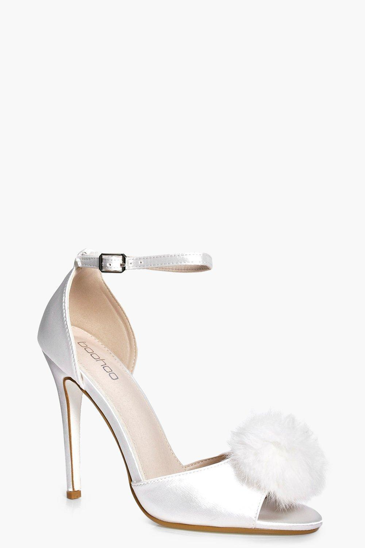 8cf952fe041d Lyst - Boohoo Amber Bridal Satin Peeptoe Pom Trim Court in White