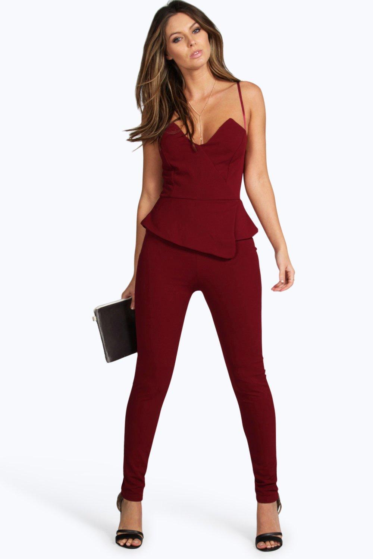 f99d9e270ea Boohoo Peplum Style Skinny Leg Jumpsuit in Pink - Save 56% - Lyst