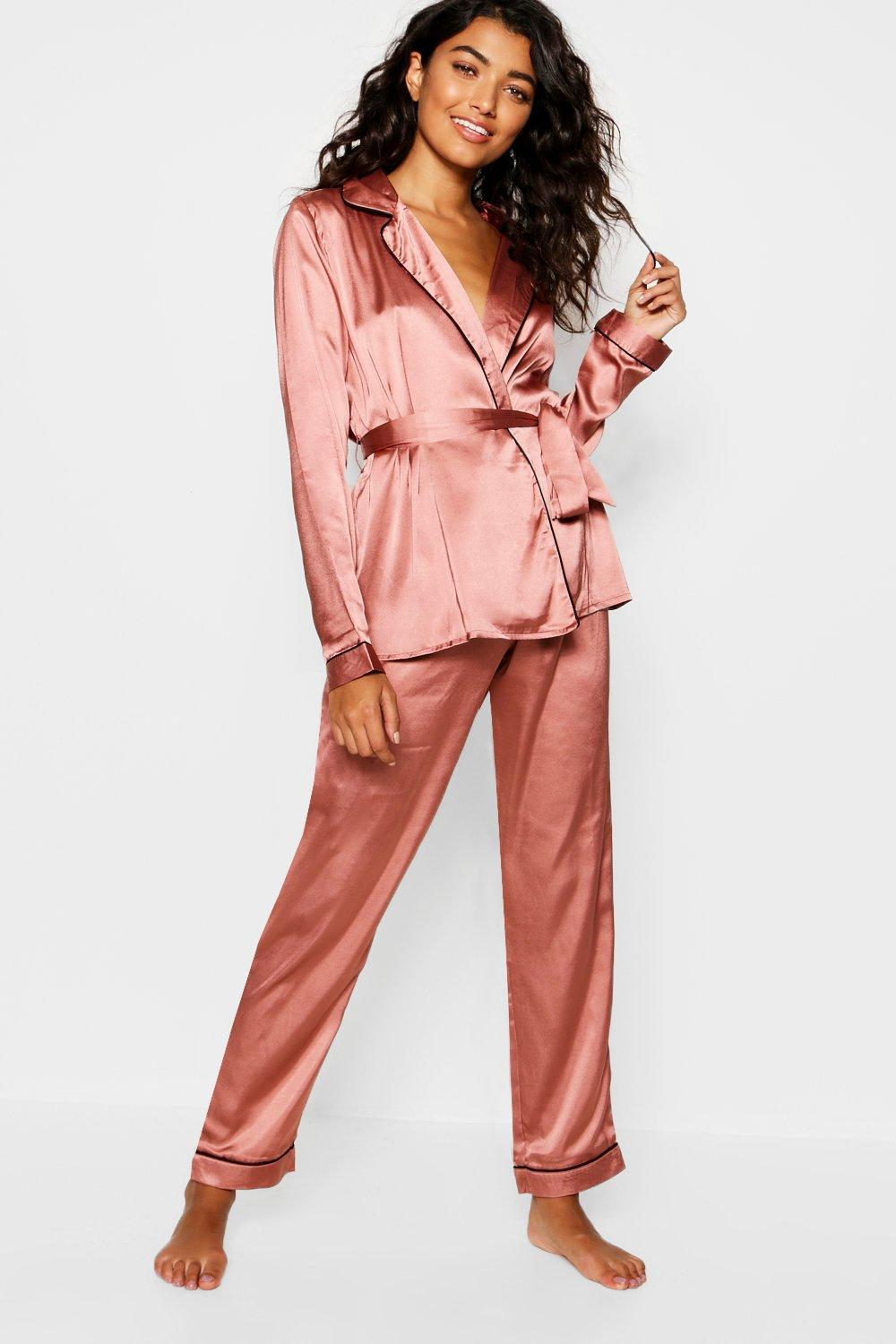 d936327198 Lyst - Boohoo Satin Wrap Front Belted Pj Set in Pink