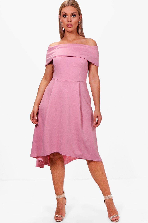 67510eb7269f Lyst - Boohoo Plus Double Layer Midi Dress in Pink