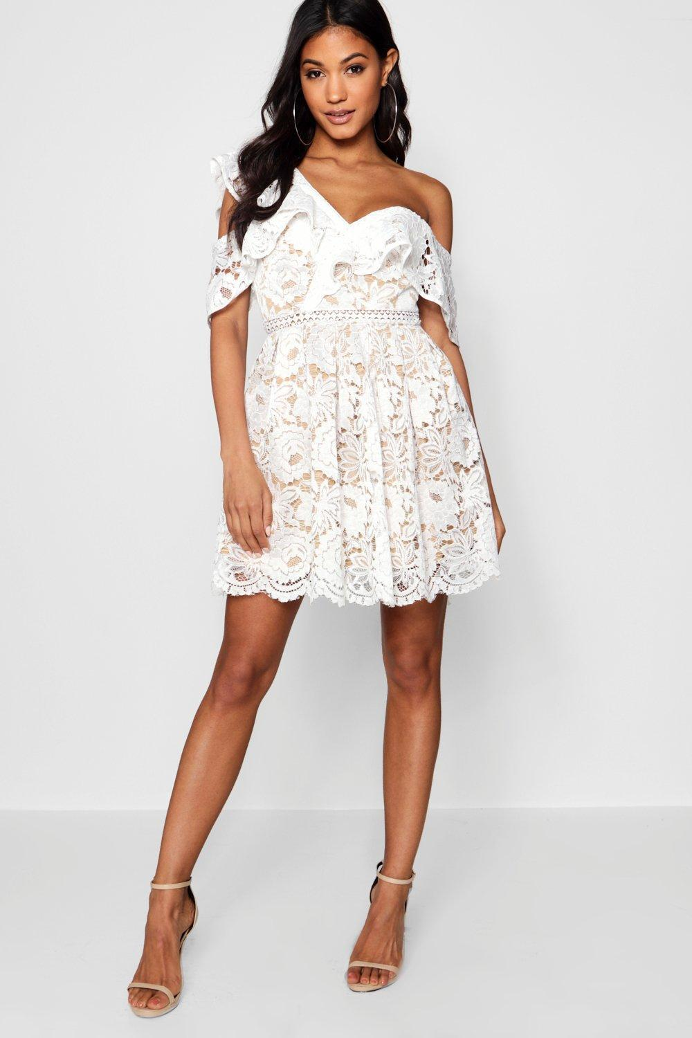 73edd9598836 Lyst - Boohoo Lace Off The Shoulder Skater Dress in White