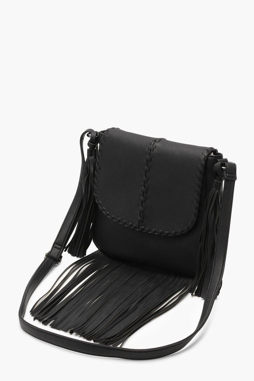Lyst - Boohoo Whip Stitch   Fringe Cross Body Bag in Black ea9393c6f9bb9