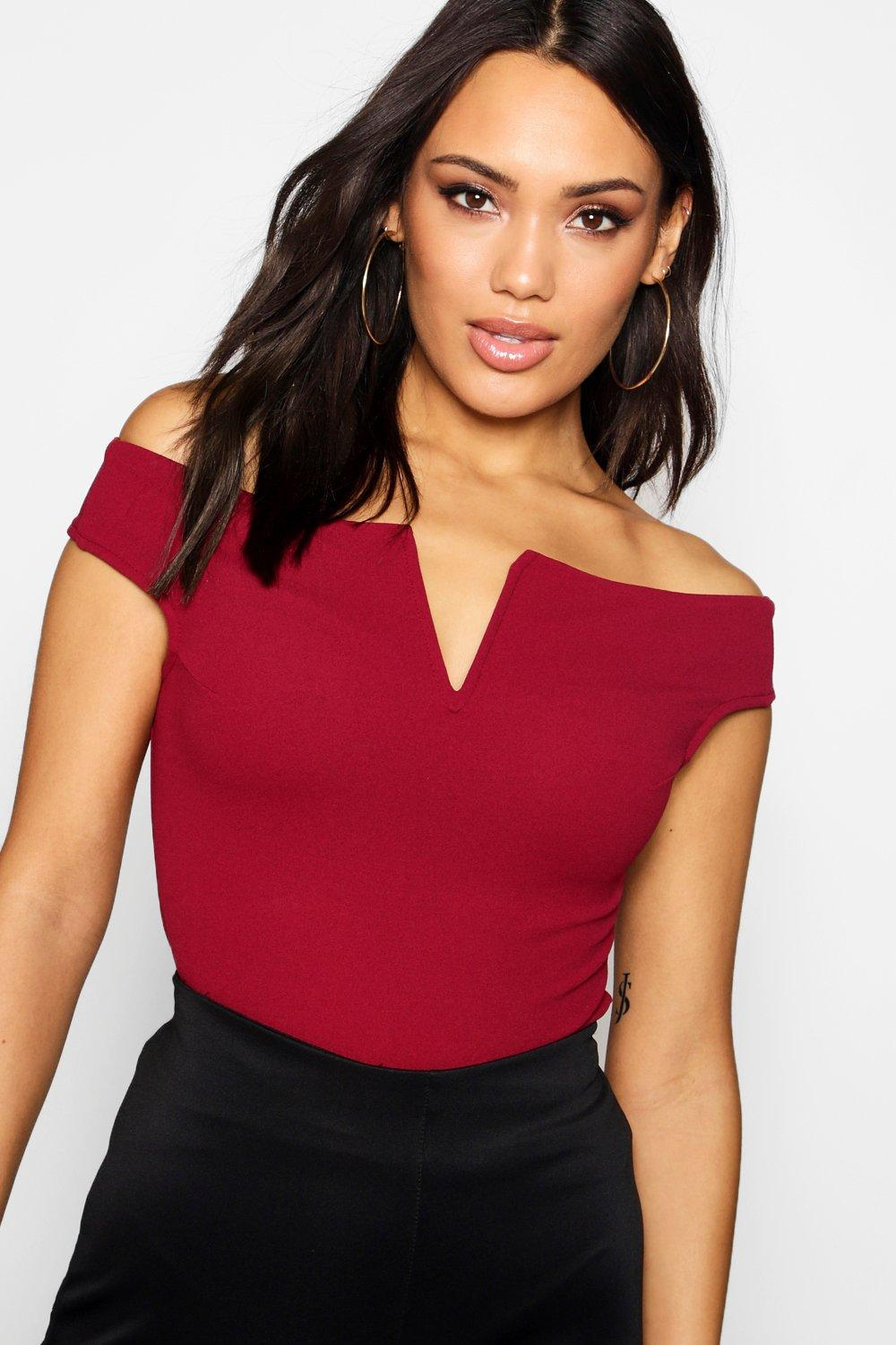 bf1dac95489dfe Boohoo Crepe Bardot Top in Red - Lyst