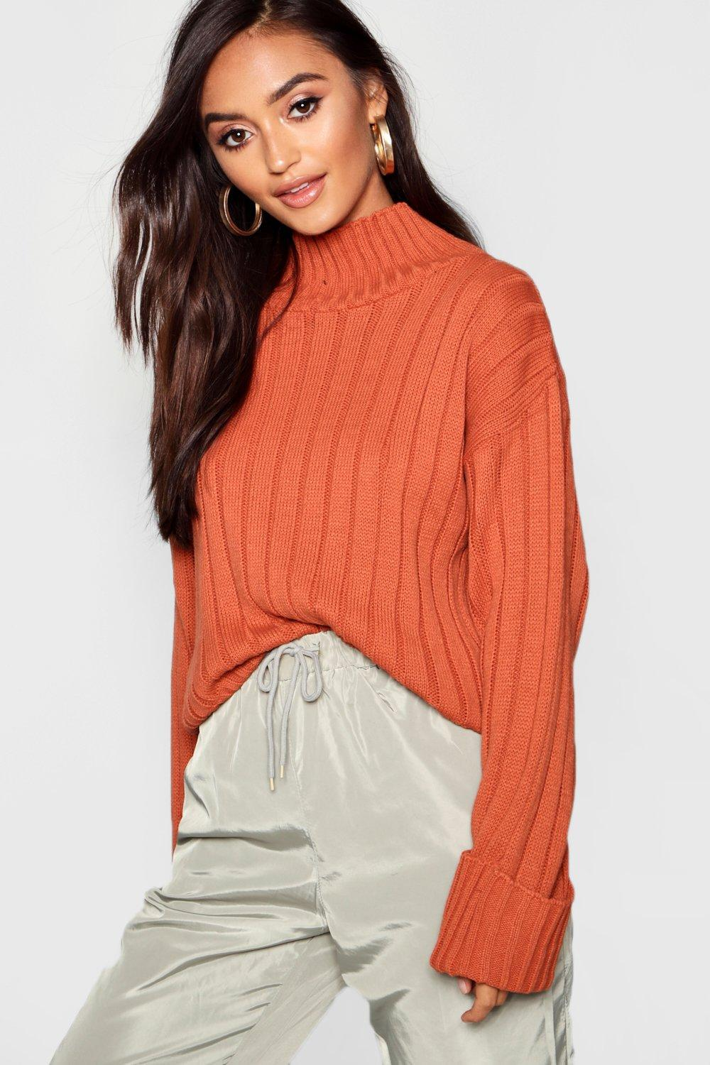 103b57d524166 Boohoo Petite Rib Knit High Neck Jumper in Orange - Lyst