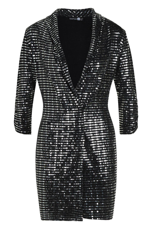 5eb1bbd0eef8 Boohoo Metallic Blazer Mini Bodycon Dress in Metallic - Lyst