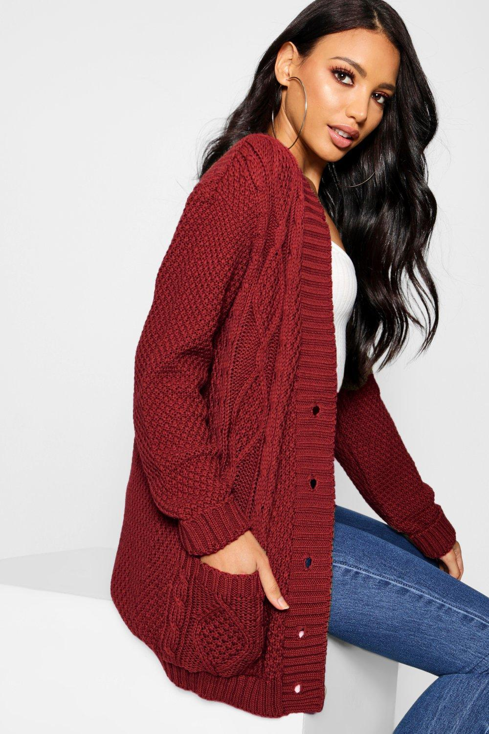 Boohoo Cable Boyfriend Button Up Cardigan in Red - Lyst 9faf36ae5