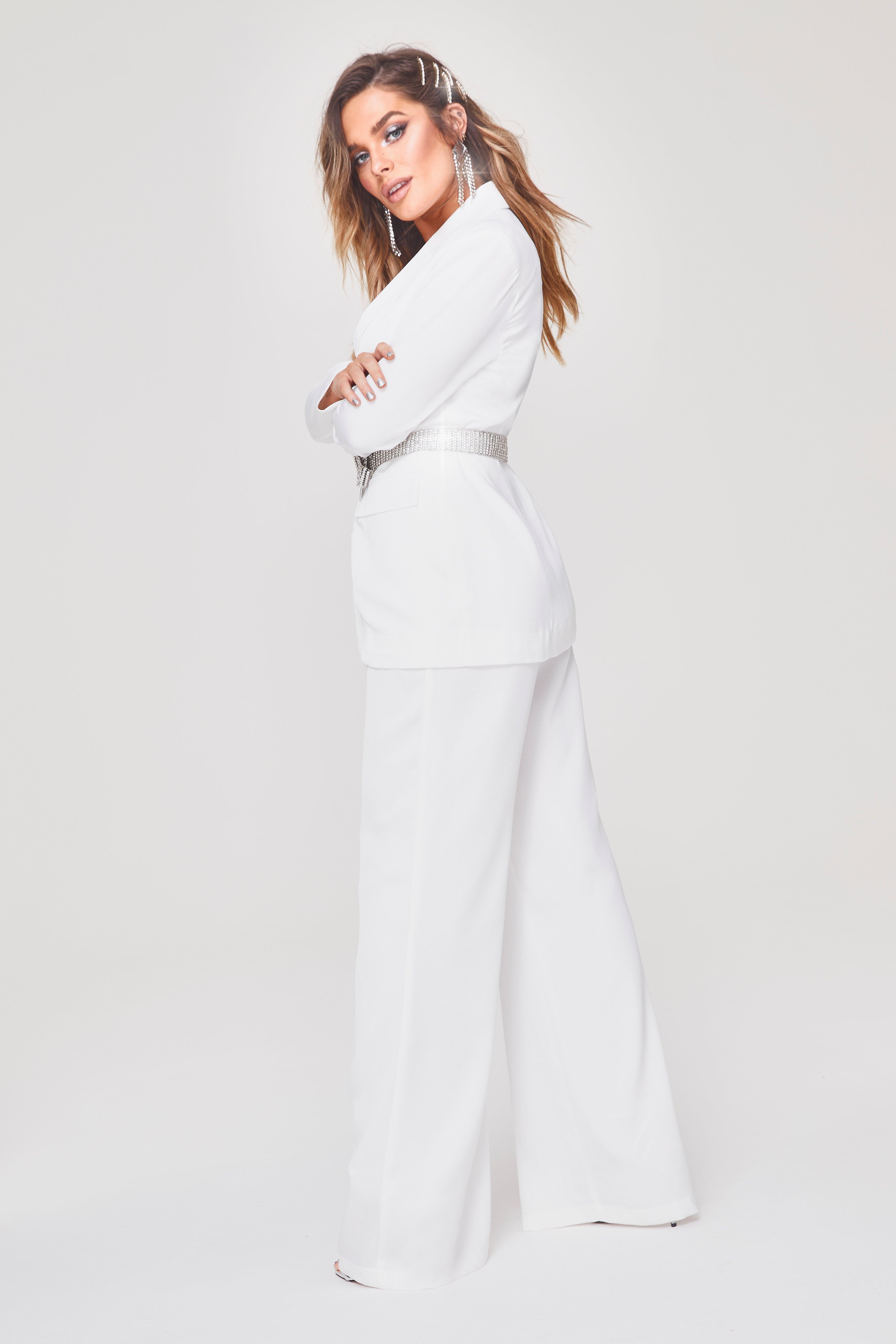 60cb39fcc464 Boohoo - White Premium Tailored Wide Leg Trouser - Lyst. View fullscreen
