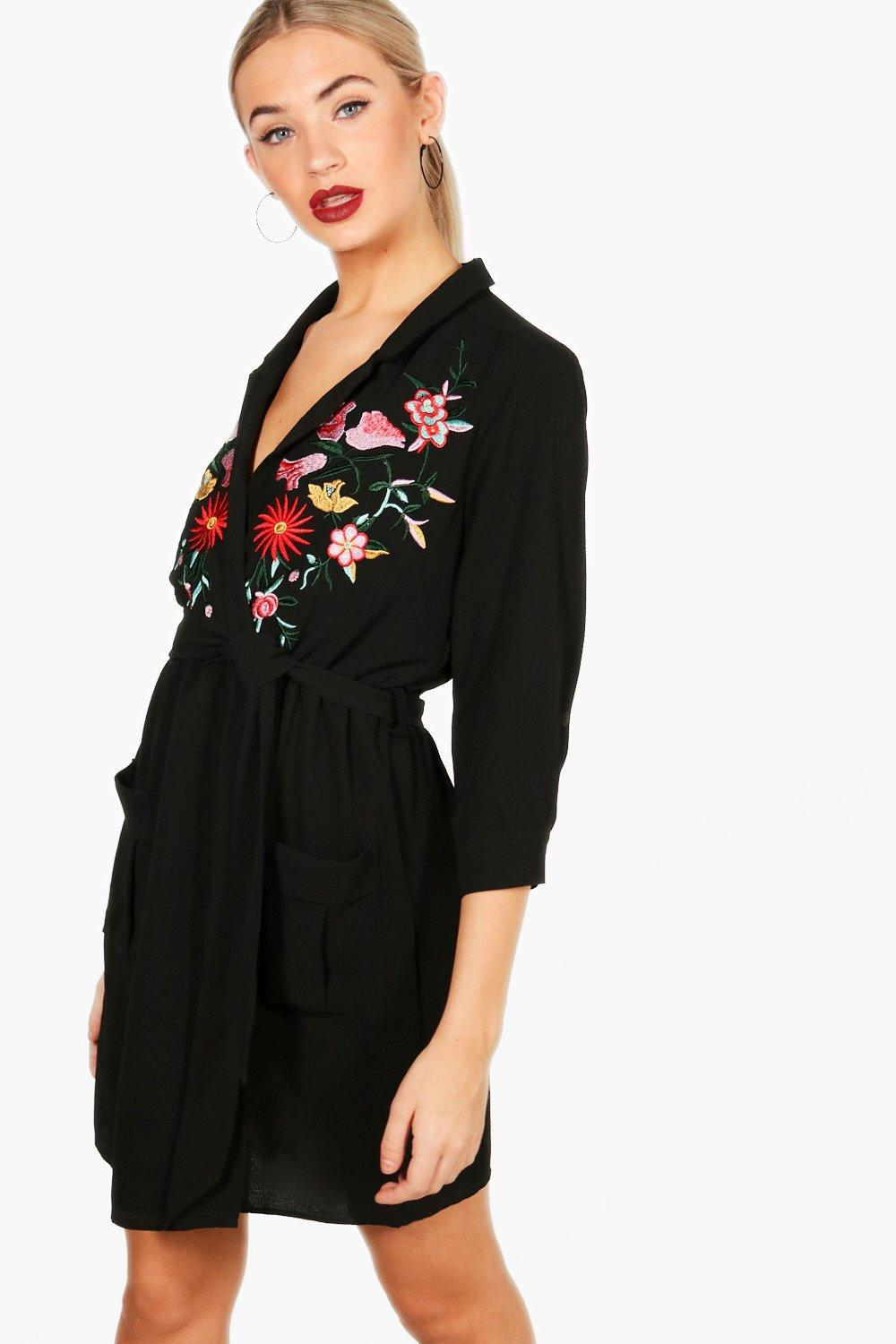 f9a11e2bd27e Lyst - Boohoo Mia Embroidered Front Tie Waist Shirt Dress in Black
