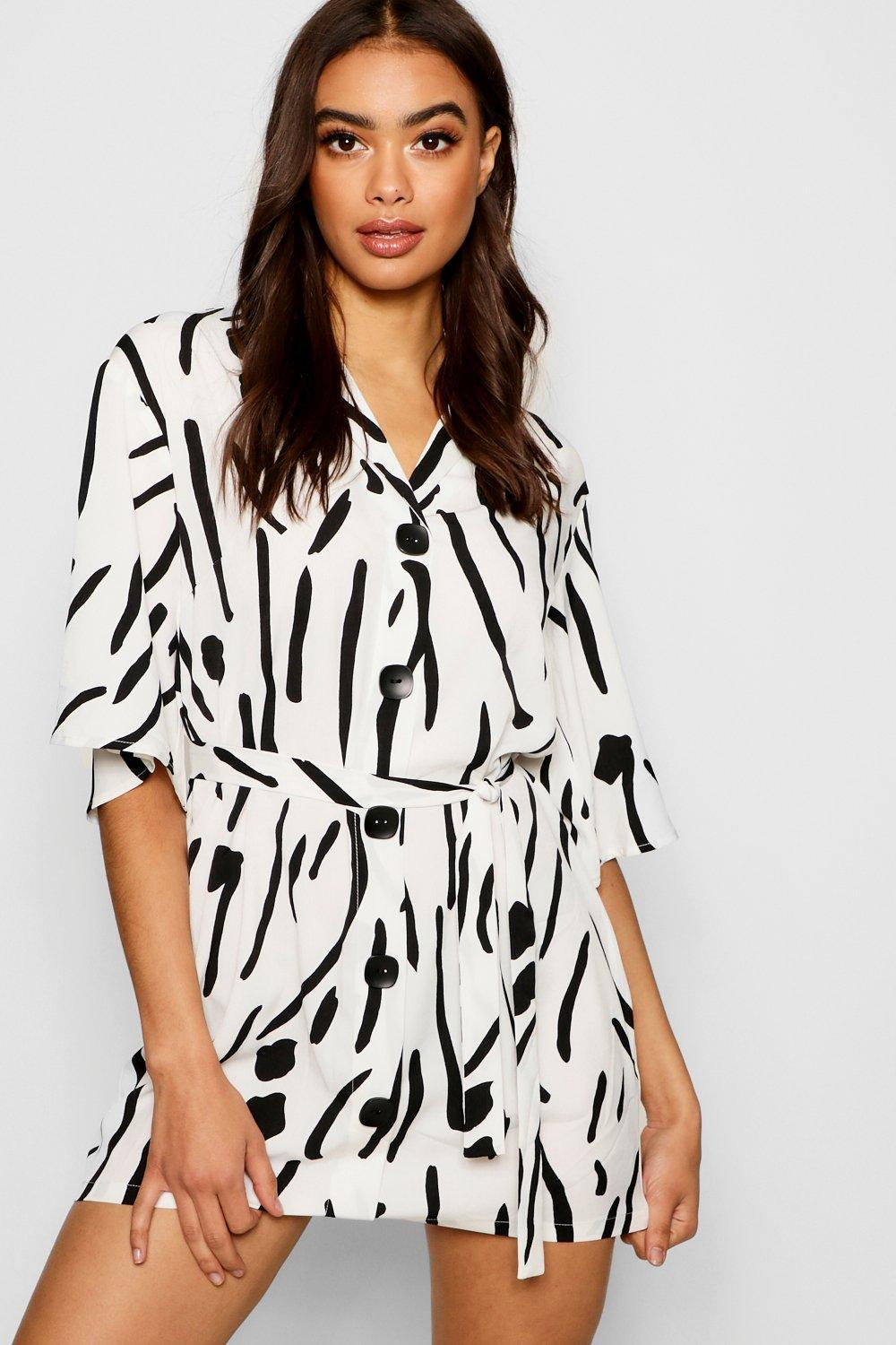 7b5c06ae70 Boohoo Oversized Printed Button Front Shirt Dress in White - Lyst