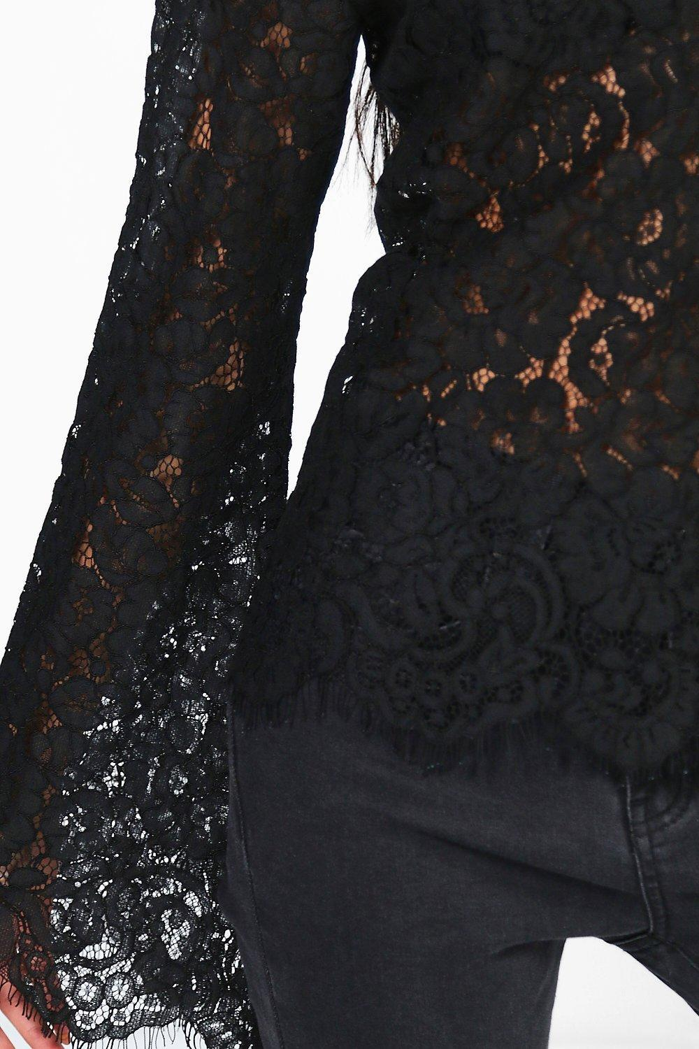 27f82efde6fe Boohoo Choker Detail All Over Lace Blouse in Black - Lyst