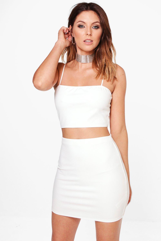 9726599d8b8b6 Lyst - Boohoo Sarah Strappy Crop   Mini Skirt Co-ord Set in White