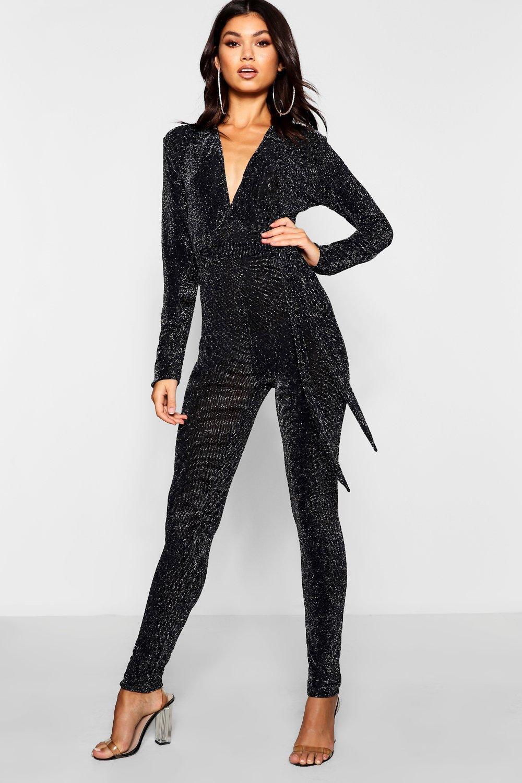 a491335e147a Boohoo Tie Waist Glitter Sparkle Jumpsuit in Black - Lyst