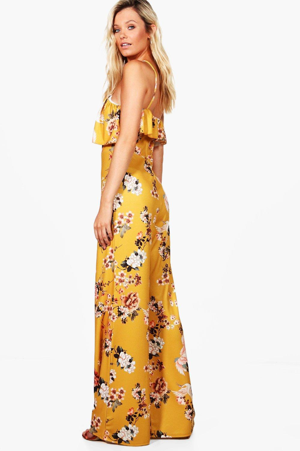 bb0aa394ce5f Lyst - Boohoo Jasmine Floral Wide Leg Jumpsuit in Yellow