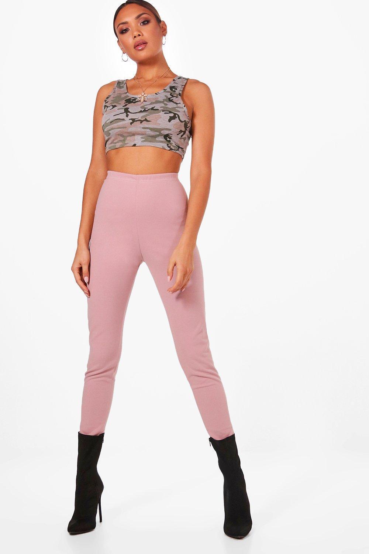 1bd01557e9092 Lyst - Boohoo High Waist Crepe Leggings in Pink