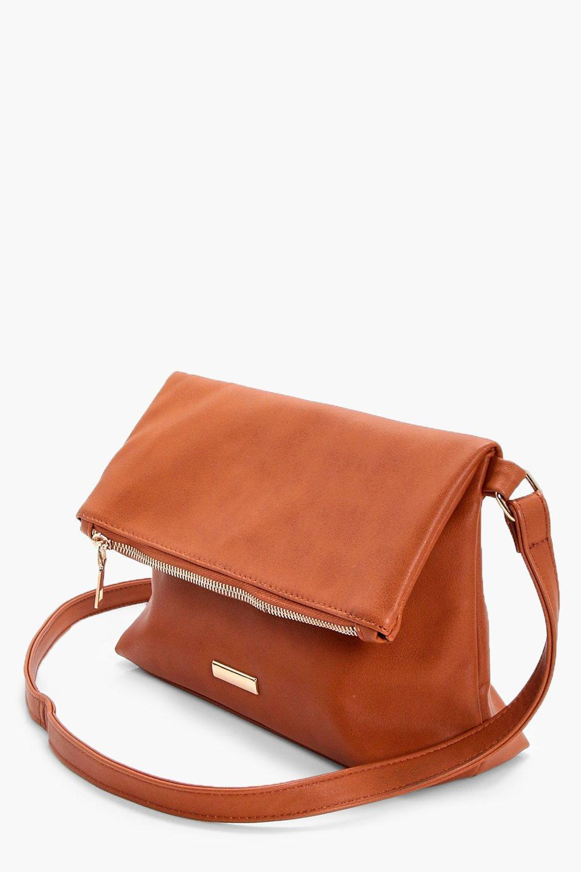Lyst - Boohoo Jenna Fold Over Zip   Plaque Cross Body Bag in Brown