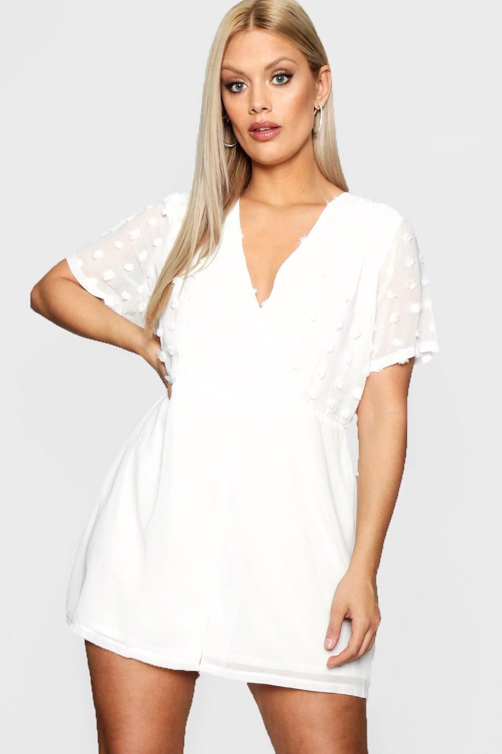 ec419ff7be7 Boohoo - White Plus Dobby Detail Wrap Playsuit - Lyst. View fullscreen
