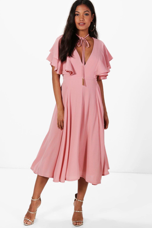 Lyst - Boohoo Freyja Ruffle Angel Sleeve Bolo Tie Midaxi Dress in Pink 45d09a0fb